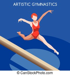 Gymnastics Balance Beam  Summer Games 3D Vector Illustration
