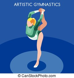 Gymnastics Floor Ex  Summer Games 3D Vector Illustration