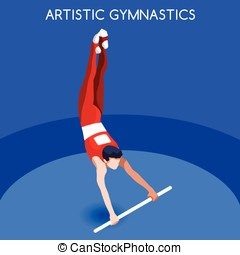 Gymnastics High Bar  Summer Games 3D Vector Illustration