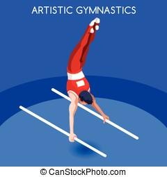 Gymnastics Parallel Bars  Summer Games 3D Vector Illustration