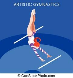 Gymnastics Uneven Bars Summer Games 3D Vector Illustration -...