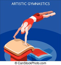 Gymnastics Vault  Summer Games 3D Vector Illustration