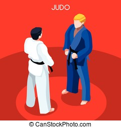 Judo Summer Games 3D Isometric Vector Illustration - Judo...