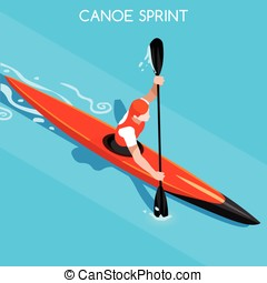 Kayak Sprint Summer Games Isometric 3D Vector Illustration -...