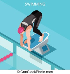 Swimming Summer Games 3D Isometric Vector Illustration -...