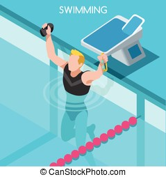 Swimming Summer Games Isometric 3D Vector Illustration -...