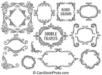 Set of hand drawn vector doodle frames on white background.