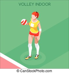 Volleyball  Summer Games 3D Isometric Vector Illustration
