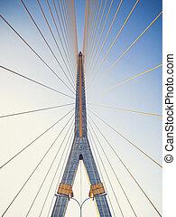 Mega sling Bridge,Rama 8, in bangkok Thailand Vintage filter...