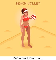 Volleyball Beach  Summer Games 3D Isometric Vector Illustration