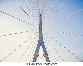 Mega sling Bridge,Rama 8, in bangkok Thailand (Vintage...