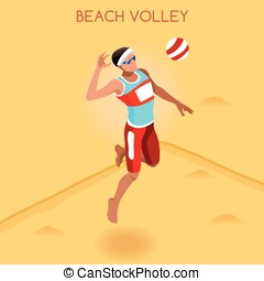 Volleyball Beach  Summer Games Isometric 3D Vector Illustration