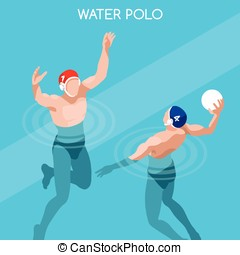 Water Polo Summer Games Isometric 3D Vector Illustration -...