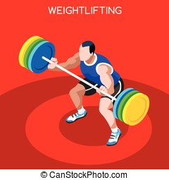 Weightlifting Summer Games 3D Isometric Vector Illustration...