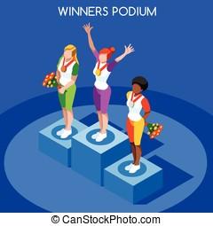 Winner Podium Summer Games Flat 3D Vector Illustration