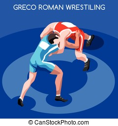 Wrestling Summer Games 3D Isometric Vector Illustration -...