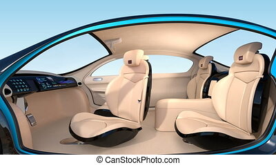 Autonomous car interior - 3D animation of autonomous car...