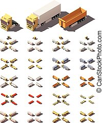 Vector isometric trucks with semi-trailers icon set - Vector...