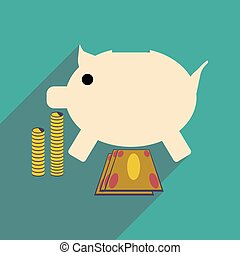 Flat with shadow icon piggy bank coins and dollars