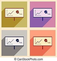 Modern collection flat icons with shadow chart diagram presentation
