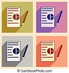 Modern flat icons vector collection with shadow business paper pencil