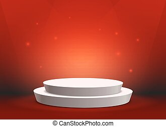 Empty template of white round podium on red background