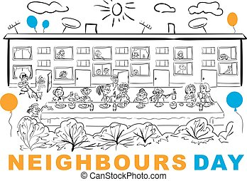 Neighbors Day. Neighbors at banquet table in yard. Vector...