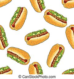 seamless pattern color hot dog