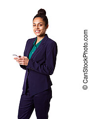 Beautiful young business woman with mobile phone - Portrait...