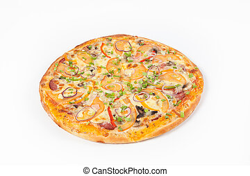Fresh whole pizza - Freshly baked whole classic pizza on...