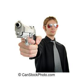 Gunpoint - Man holding up a pistol with the focus point on...