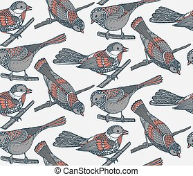 Seamless pattern with hand drawn ornate birds. Black and...