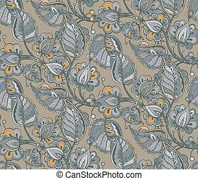 Vector seamless pattern with hand drawn fancy flower branch and