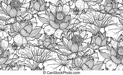 Floral seamless pattern with hand drawn lotus flowers and...