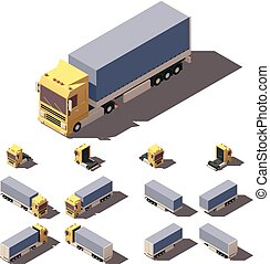 Vector isometric truck with tilt box semi-trailer icon set -...