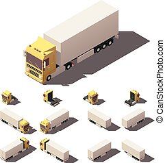 Vector isometric truck with box semi-trailer icon set -...
