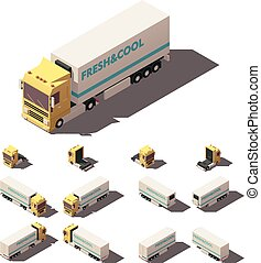 Vector isometric truck with insulated or refrigerated...