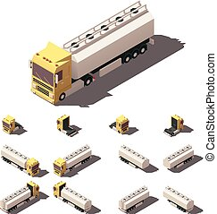Vector isometric truck with liquid tank semi-trailer icon...