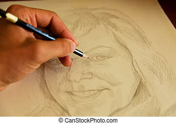 artist drawing woman portrait with a pencil.