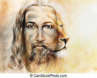 painting of Jesus with a lion, on beautiful colorful background, eye contact and lion profile portrait.