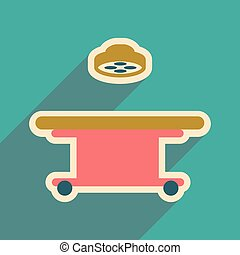 Icon of operating table in flat style