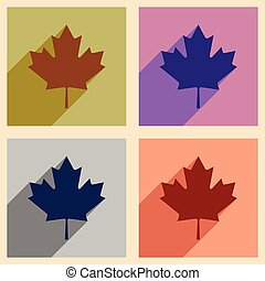 Set of flat icons with long shadow Maple Leaf