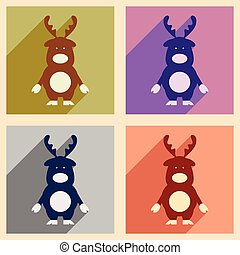 Set of flat icons with long shadow Santa's reindeer