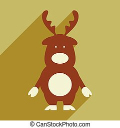 flat icon with long shadow Santa's reindeer