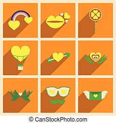 Set of flat web icons with long shadow Valentine's Day