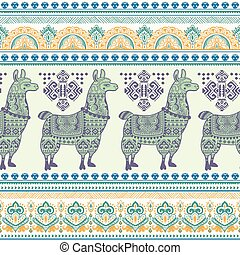 Alpaca Llama animal seamless pattern - Vector cute Alpaca...