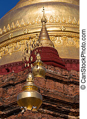 Shwedagon Pagoda in Yangon, Myanmar - Detail of the golden...