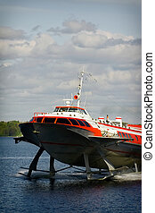 hydrofoil boat on water - hydrofoil boat from St. Petersburg...