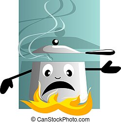cooker	 - Illustration of cooking pan with fire