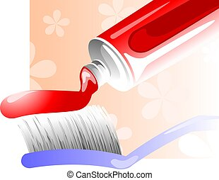 Toothpaste and brush - Illustration of toothpaste with brush...
